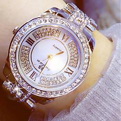 preiswerte Damenuhren-Damen Kleideruhr 50 m Chronograph leuchtend Imitation Diamant Edelstahl Band Analog Luxus Glanz Silber / Gold - Gold Silber Zwei jahr Batterielebensdauer