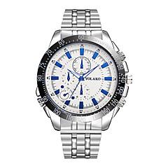 preiswerte Herrenuhren-Herrn Quartz Armbanduhren für den Alltag Chinesisch Großes Ziffernblatt Edelstahl Band Modisch Silber