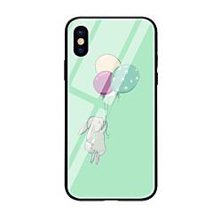 Недорогие Кейсы для iPhone-Кейс для Назначение Apple iPhone X iPhone 8 С узором Кейс на заднюю панель Воздушные шары Животное Твердый Закаленное стекло для iPhone X