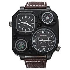 お買い得  メンズ腕時計-SHI WEI BAO 男性用 ファッションウォッチ クォーツ コンパス 2タイムゾーン パンク 本革 バンド ハンズ カジュアル ブラック / ブラウン - ホワイト ブラック コーヒー 1年間 電池寿命 / 大きめ文字盤 / SSUO 377