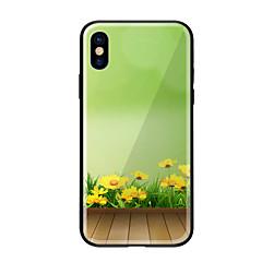 Недорогие Кейсы для iPhone 7-Кейс для Назначение Apple iPhone X iPhone 8 С узором Кейс на заднюю панель Цветы Твердый Закаленное стекло для iPhone X iPhone 8 Pluss