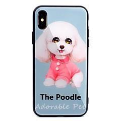 Недорогие Кейсы для iPhone-Кейс для Назначение Apple iPhone X iPhone 8 Plus С узором Кейс на заднюю панель С собакой Твердый Закаленное стекло для iPhone X iPhone 8
