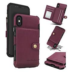 Недорогие Кейсы для iPhone-Кейс для Назначение Apple iPhone X iPhone 8 Бумажник для карт Кошелек Защита от удара Кейс на заднюю панель Однотонный Твердый Настоящая