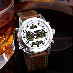 preiswerte Digitaluhren-Herrn Paar Armbanduhren für den Alltag Modeuhr Kleideruhr Japanisch Quartz Leder Bandmaterial Braun 30 m Wasserdicht Kalender Chronograph Analog-Digital Luxus Modisch - Weiß Rot Blau