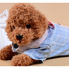 お買い得  犬用ウェア&アクセサリー-犬用 猫用 Tシャツ 犬用ウェア カラーブロック 格子柄 蝶結び グレー ブルー ファブリック コスチューム ペット用 男性 カジュアル/普段着 リボン