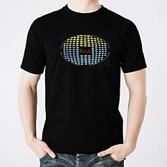 お買い得  LED T シャツ-LED Tシャツ 点灯 ファッショナブル エレクトロルミネセンス 蓄光 音検知 ピュアコットン パーティー カジュアル 2×単四電池