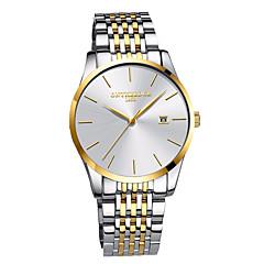 お買い得  メンズ腕時計-男性用 ドレスウォッチ 日本産 30 m 耐水 クロノグラフ付き 大きめ文字盤 合金 バンド ハンズ ぜいたく ミニマリスト ブラック / シルバー / ゴールド - ゴールド シルバー /  ブラック ゴールド / ホワイト 2年 電池寿命