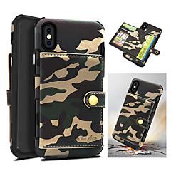 Недорогие Кейсы для iPhone-Кейс для Назначение Apple iPhone X Бумажник для карт / Защита от удара Кейс на заднюю панель Камуфляж Твердый Кожа PU для iPhone X