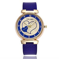 preiswerte Damenuhren-Damen Quartz Armbanduhren für den Alltag Chinesisch Armbanduhren für den Alltag Plastic Band Heart Shape Modisch Schwarz Weiß Blau Rot