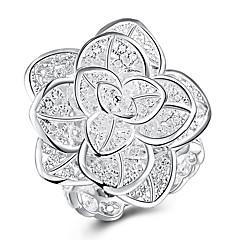 お買い得  指輪-女性用 フローラル / 多層式 銅 フラワー バンドリング - フローラル / 多層式 シルバー リング 用途 パーティー / ワーク