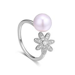 preiswerte Ringe-Damen Bandring - Perle, Zirkon, Kupfer Blumen / Botanik, Blume Süß, Modisch Verstellbar Gold / Silber Für Party Geburtstag