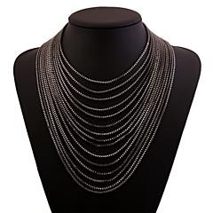お買い得  ネックレス-タッセル レイヤードネックレス  -  ステンレス ファッション, 特大の ゴールド, ブラック, シルバー 36 cm ネックレス 用途 クラブ, バー
