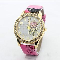 お買い得  レディース腕時計-女性用 クォーツ ダミー ダイアモンド 腕時計 ファッションウォッチ カジュアルウォッチ 中国 大きめ文字盤 模造ダイヤモンド PU バンド 花型 ファッション 白 ブルー レッド ブラウン ピンク 赤紫