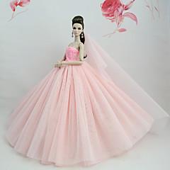 abordables Ropa para Barbies-Vestidos Vestir por Muñeca Barbie  Rosa Válida Tul / Tela de Encaje / Mezcla de Seda y Algodón Vestido por Chica de muñeca de juguete