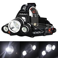 abordables Linternas de Casco-Linternas de Cabeza Faro de bicicleta LED Cree XM-L T6 3000 lm 4.0 Modo de Iluminación con cargador Recargable, Bisel de Impacto Camping / Senderismo / Cuevas, Viaje