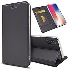 Недорогие Кейсы для iPhone 5-Кейс для Назначение Apple iPhone X iPhone 8 Plus Бумажник для карт Кошелек Защита от удара со стендом Чехол Однотонный Твердый Кожа PU для