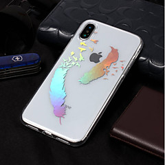 Недорогие Кейсы для iPhone 7-Кейс для Назначение Apple iPhone X / iPhone 8 IMD / С узором Кейс на заднюю панель Перья Мягкий ТПУ для iPhone X / iPhone 8 Pluss /