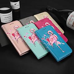 Недорогие Кейсы для iPhone-Кейс для Назначение SSamsung Galaxy J2 PRO 2018 Бумажник для карт Кошелек со стендом Флип С узором Чехол Фламинго Твердый Кожа PU для J2