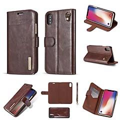 Недорогие Кейсы для iPhone 7 Plus-Кейс для Назначение Apple iPhone X / iPhone 8 Кошелек / Бумажник для карт / Флип Чехол Однотонный Твердый Настоящая кожа для iPhone X /