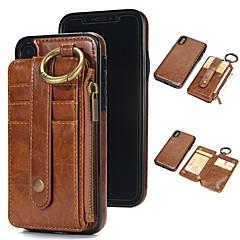 Недорогие Кейсы для iPhone-Кейс для Назначение Apple iPhone X / iPhone 8 Бумажник для карт / Кошелек / со стендом Чехол Однотонный Твердый Настоящая кожа для iPhone
