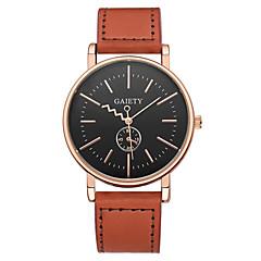 preiswerte Damenuhren-Herrn / Damen Armbanduhr Chinesisch Chronograph / Armbanduhren für den Alltag Leder Band Mehrfarbig / Armreif Schwarz / Orange / Braun