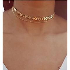 preiswerte Halsketten-Mehrschichtig Halsketten / Anhängerketten / Layered Ketten - Blattform Retro, Böhmische, Europäisch Gold, Silber 30 cm Modische Halsketten Schmuck Für Party / Abend, Geschenk