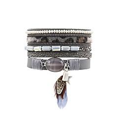 preiswerte Armbänder-Damen Lederarmbänder / Armband mit Anhänger - Leder Modisch Armbänder Grau / Rot / Blau Für Geschenk / Party