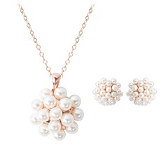 cheap Jewelry Sets-Women's Pearl Geometric Jewelry Set - Pearl, Imitation Pearl, Gold Plated Floral / Botanicals, Flower Fashion Include Stud Earrings Choker Necklace Gold For Wedding Evening Party
