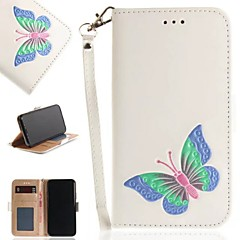 Недорогие Кейсы для iPhone-Кейс для Назначение Apple iPhone X Бумажник для карт / Кошелек / со стендом Чехол Бабочка Твердый Кожа PU для iPhone X