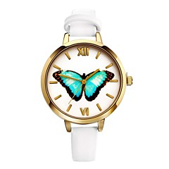 preiswerte Damenuhren-Damen Quartz Armbanduhr Armbanduhren für den Alltag Leder Band Schmetterling Modisch Schwarz Weiß