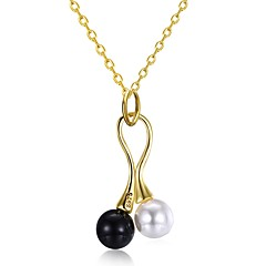 お買い得  ネックレス-女性用 真珠 / 淡水パール ペンダントネックレス  -  真珠, ステンレス鋼, 18Kゴールド ユニーク, ファッション かわいい ゴールド 45+5 cm ネックレス ジュエリー 用途 贈り物, 日常