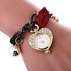preiswerte Damenuhren-Damen Armband-Uhr Quartz Armbanduhren für den Alltag Imitation Diamant Legierung Band Analog Blume Heart Shape Schwarz - Schwarz Ein Jahr Batterielebensdauer