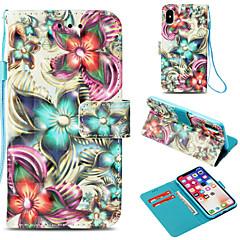Недорогие Кейсы для iPhone X-Кейс для Назначение Apple iPhone X / iPhone 8 Plus Бумажник для карт / Кошелек / со стендом Чехол Цветы Твердый Кожа PU для iPhone X /