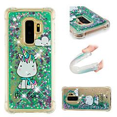 billige Galaxy S6 Etuier-Etui Til Samsung Galaxy S9 / S9 Plus Stødsikker / Flydende væske / Mønster Bagcover enhjørning / Glitterskin Blødt TPU for S9 Plus / S9 /