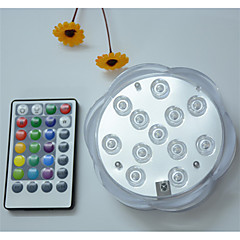 abordables Aplique para Exterior-1 unid 12 leds rgb led luz subacuática estanque sumergible batería de luz a prueba de agua con pilas para el banquete de boda