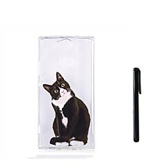 olcso Sony tokok-Case Kompatibilitás Sony Xperia L2 Xperia L1 Áttetsző Fekete tok Cica Állat Puha TPU mert Xperia XZ1 Compact Sony Xperia XZ1 Xperia XA2