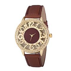 preiswerte Damenuhren-Damen Kleideruhr Chinesisch Neues Design / Chronograph / Transparentes Ziffernblatt Leder Band Luxus / Modisch Schwarz / Weiß / Blau