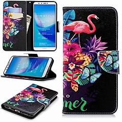 Недорогие Чехлы и кейсы для Huawei серии Y-Кейс для Назначение Huawei Y9 (2018)(Enjoy 8 Plus) / Enjoy 7S Кошелек / Бумажник для карт / со стендом Чехол Фламинго Твердый Кожа PU для Huawei Y7(Nova Lite+) / Huawei Y6 (2018) / Huawei Y6