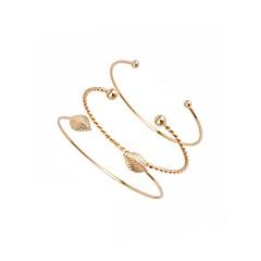 preiswerte Armbänder-Manschetten-Armbänder - Blattform Armbänder Gold Für Alltag / Abiball / 3 Stück