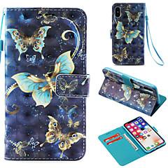 Недорогие Кейсы для iPhone 7 Plus-Кейс для Назначение Apple iPhone X / iPhone 8 Plus Бумажник для карт / Кошелек / со стендом Чехол Бабочка Твердый Кожа PU для iPhone X /