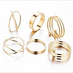 Недорогие Женские украшения-сплав слон кольцо / кольцо набор - 6шт геометрический / круг старинные / металлическое золото кольцо для отдыха / партии