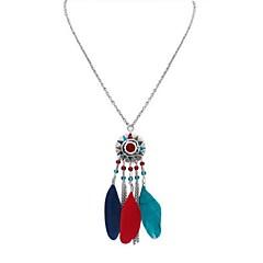 preiswerte Halsketten-Damen Lang Anhängerketten - Feder Stilvoll, Retro, Ethnisch Schwarz, Regenbogen, Rot 70 cm Modische Halsketten Schmuck 1pc Für Alltag, Verabredung