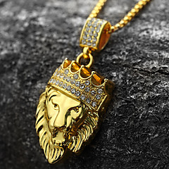 cheap Necklaces-Men's Pendant Necklace - 18K Gold Plated, Imitation Diamond Lion, Animal, Crown Personalized, Rock, Hip-Hop Gold Necklace 1pc For Party, Gift, Daily