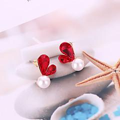 Недорогие Женские украшения-Жен. 3D Серьги-гвоздики - Искусственный жемчуг Сердце корейский, Милая, Мода Серый / Красный Назначение Повседневные