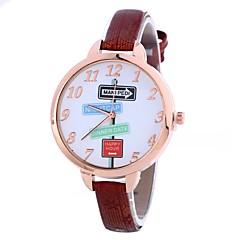 preiswerte Damenuhren-Damen Armbanduhr Chinesisch Kreativ / Armbanduhren für den Alltag / Großes Ziffernblatt PU Band Modisch / Minimalistisch Schwarz / Blau / Rot / Ein Jahr