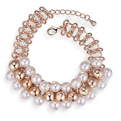 preiswerte Armbänder-Damen Dicke Kette Bettelarmbänder / Gliederarmband - Künstliche Perle Europäisch, Modisch, Elegant Armbänder Gold Für Party
