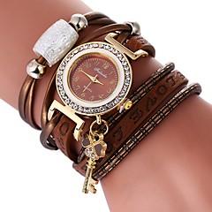 お買い得  レディース腕時計-女性用 ブレスレットウォッチ 中国 カジュアルウォッチ / かわいい / 模造ダイヤモンド PU バンド ボヘミアンスタイル / エレガント ブラック / 白 / ブルー