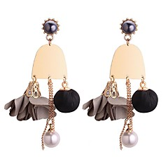 preiswerte Ohrringe-Damen Perle Tropfen-Ohrringe - Künstliche Perle Blume Retro, Modisch Kaffee / Grün / Rosa Für Party / Abend / Verabredung