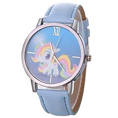 お買い得  レディース腕時計-Xu™ 女性用 ドレスウォッチ / リストウォッチ 中国 クリエイティブ / カジュアルウォッチ / 大きめ文字盤 PU バンド カトゥーン / ファッション ブラック / 白 / ブルー