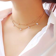 preiswerte Halsketten-Damen Mehrschichtig Halsketten / Layered Ketten - Stern Modisch, Elegant Gold, Silber 30 cm Modische Halsketten Schmuck 1pc Für Party / Abend, Verlobung, Geschenk